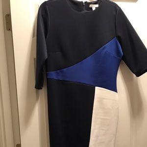 Long sleeved color block print dress